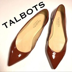 TALBOTS pointy toe patent ballet flats rust 8.5
